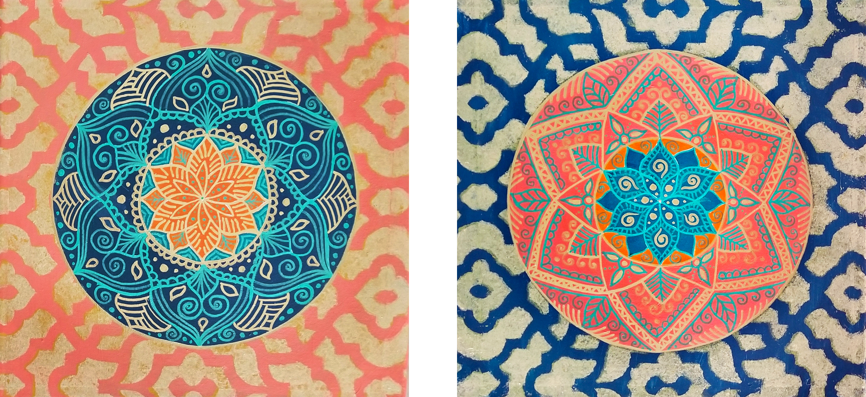 """Moroccan Vibe I & II (Available) - 2 x Acrylic and ink on canvas 12"""" X 12""""Price for the pair: $200"""