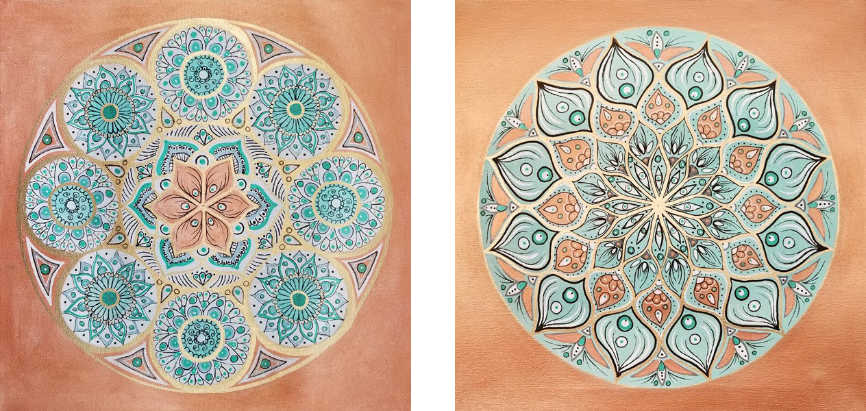 """Terracotta Globe I & II (Available) - 2 x Acrylic and ink on canvas 12"""" X 12""""Price for the pair: $400"""