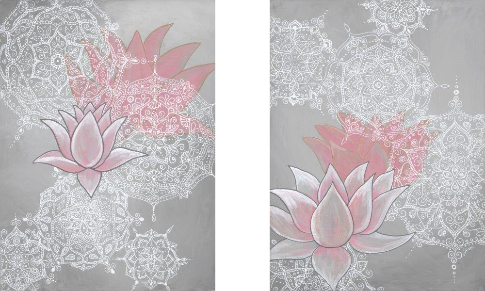 """Lace Lotus I & II (Available) - 2 x Acrylic and ink on canvas 11"""" X 16""""Price for the pair: $300"""