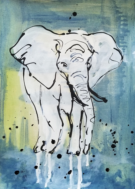 """Dynamic Stance - Acrylic and ink on 140lb watercolor paper 11"""" X 15""""Price for Original: $60"""