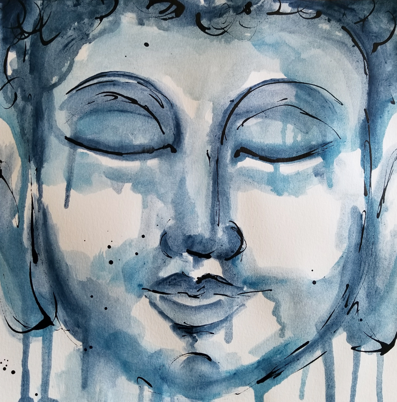 """Buddha (Available) - Acrylic and ink on 140lb watercolor paper 11"""" X 11""""Price for Original: $60"""