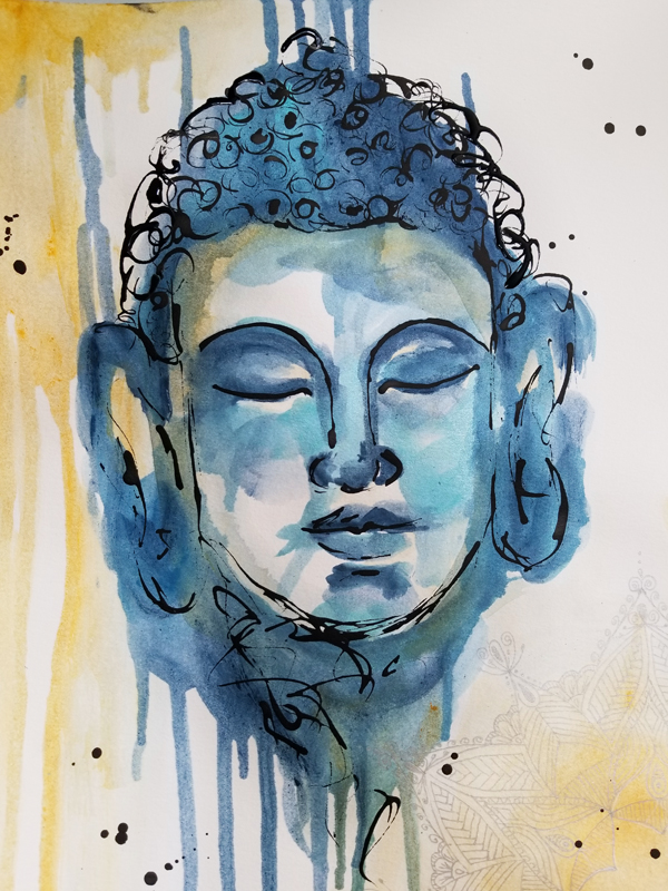 """Tranquil (Available) - Acrylic and ink on 140lb watercolor paper 11"""" X 15""""Price for Original: $60"""