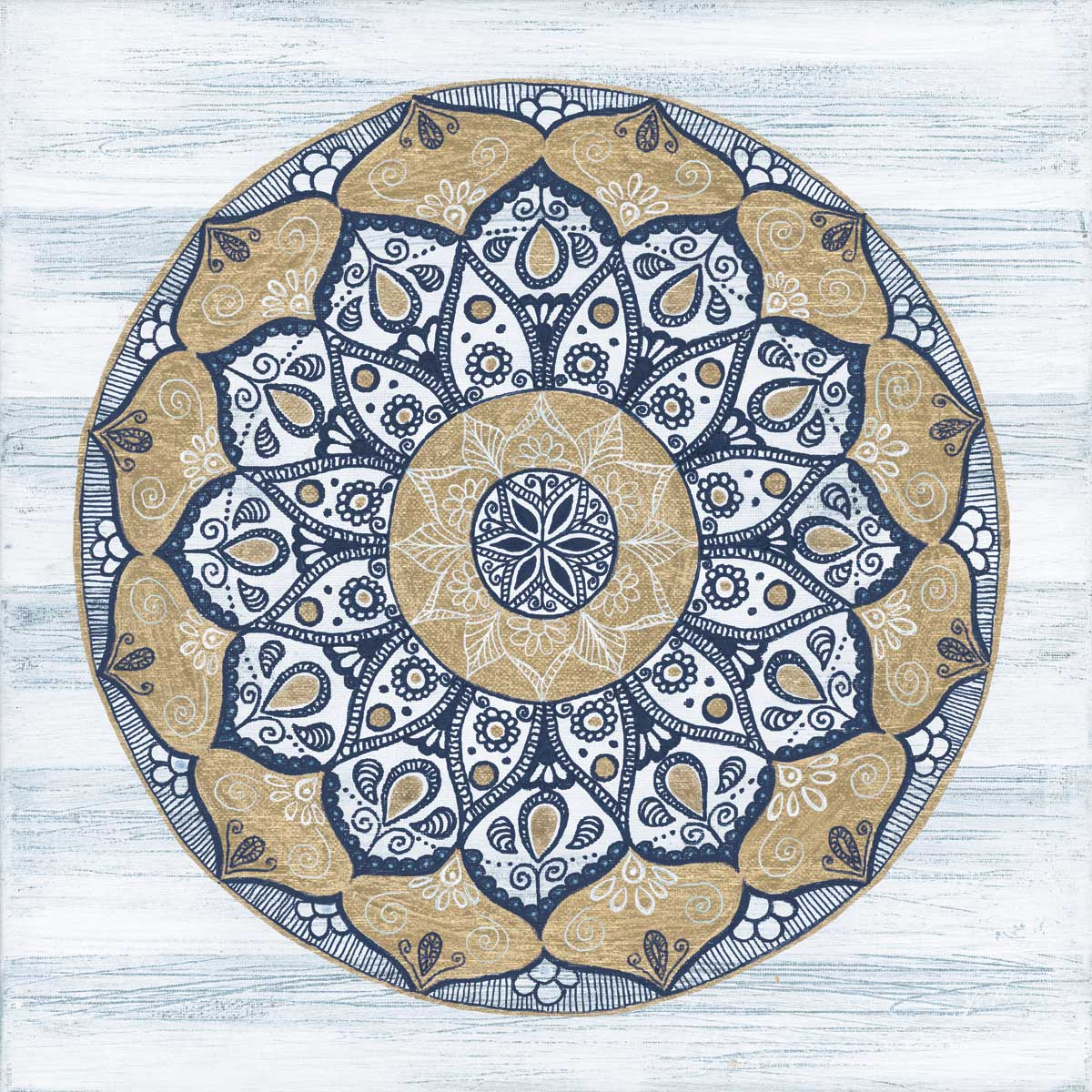 """Coastal Mandala I (Available) - Published - also available in custom prints and canvasOriginal: Acrylic and ink on canvas 14"""" X 14""""Price: $250"""