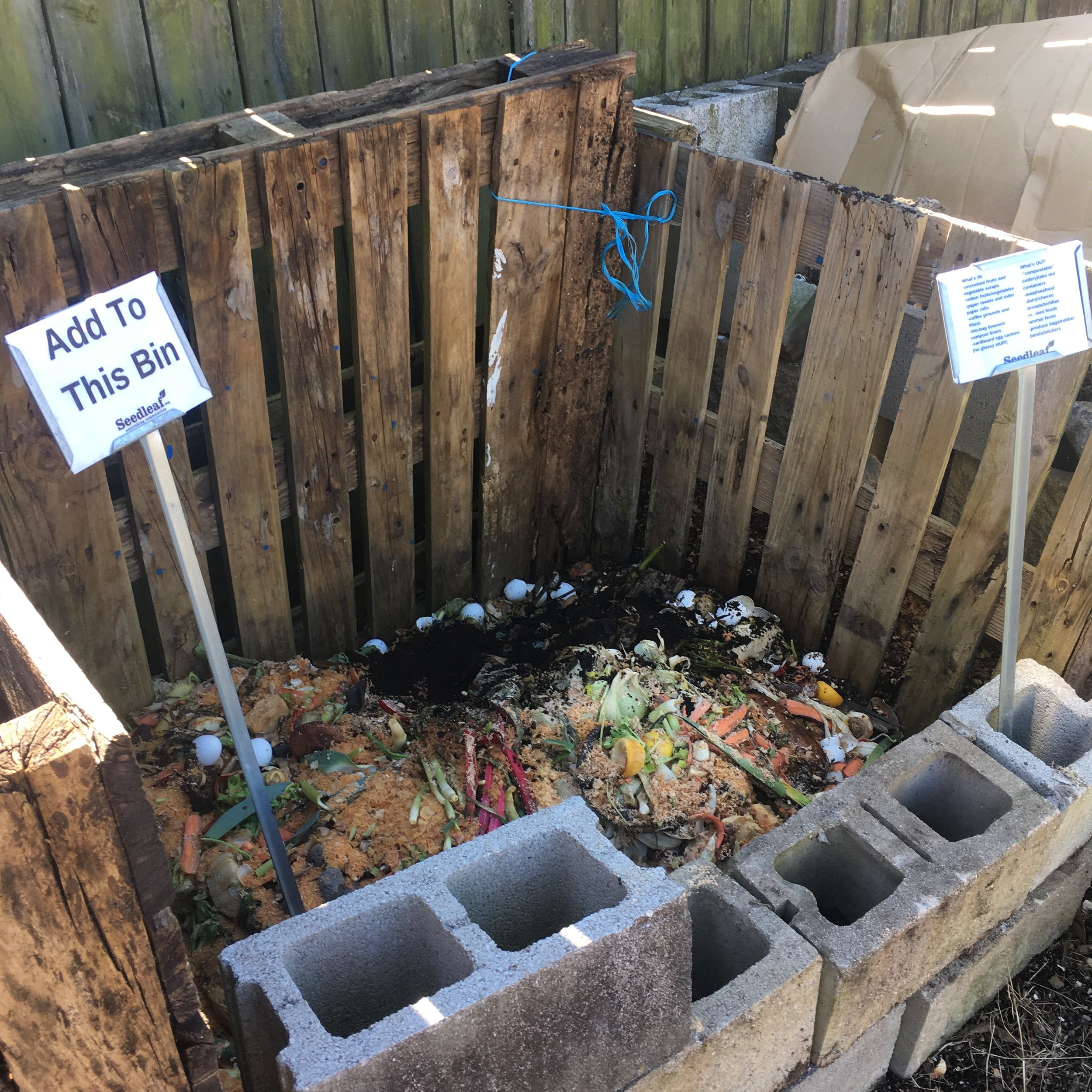 This bin is open and ready for your food waste. Just visit the North Pole Community Garden at 909 North Limestone, a space owned by the NoLi CDC which we help maintain.