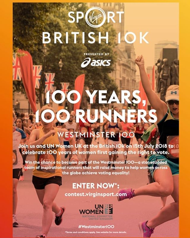 We're bringing together a team of 100 inspirational women to mark 100 years of the female vote at the @virginsport #british10k. 🏃♀️ Raising money for @unwomenuk to help other women around the world exercise THEIR fundamental right to vote! ✊ So excited to be working for such a great cause! (cc @daniellaposner) . . . . . . #inspirationalwomen #girlpower #yearofthewoman #genderequality #fairvote #womensrights #charity #westminster #femaleempowerment #votingequality #vote #politics
