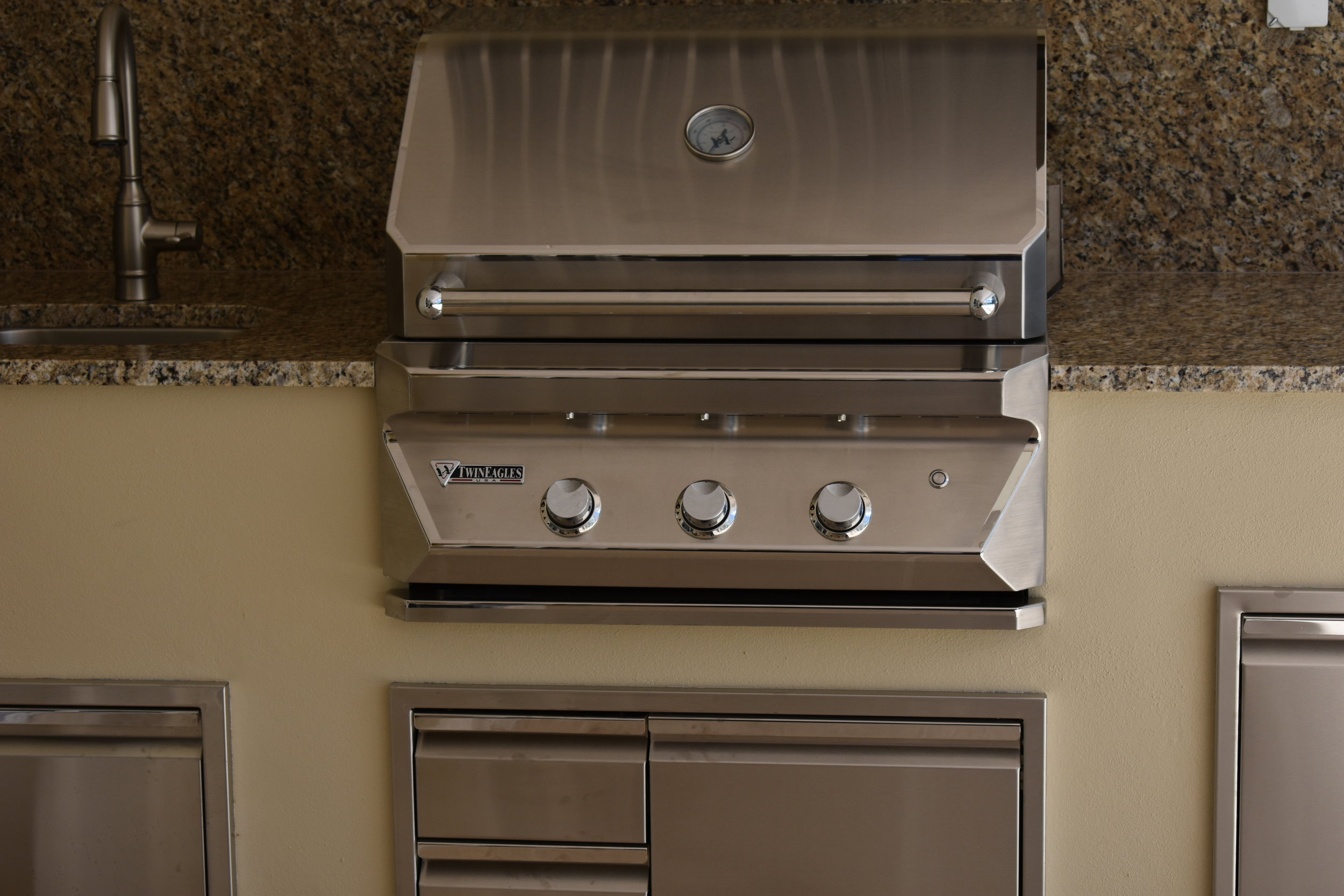 Twin Eagles Gas Grill with Two Drawer & Door Combo, and Trash Drawer