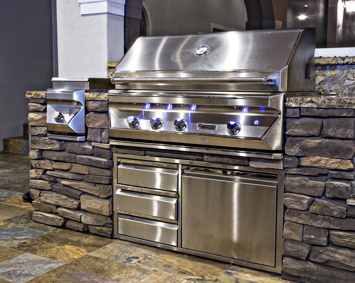 Custom L-Shaped with Stacked Stone and Granite