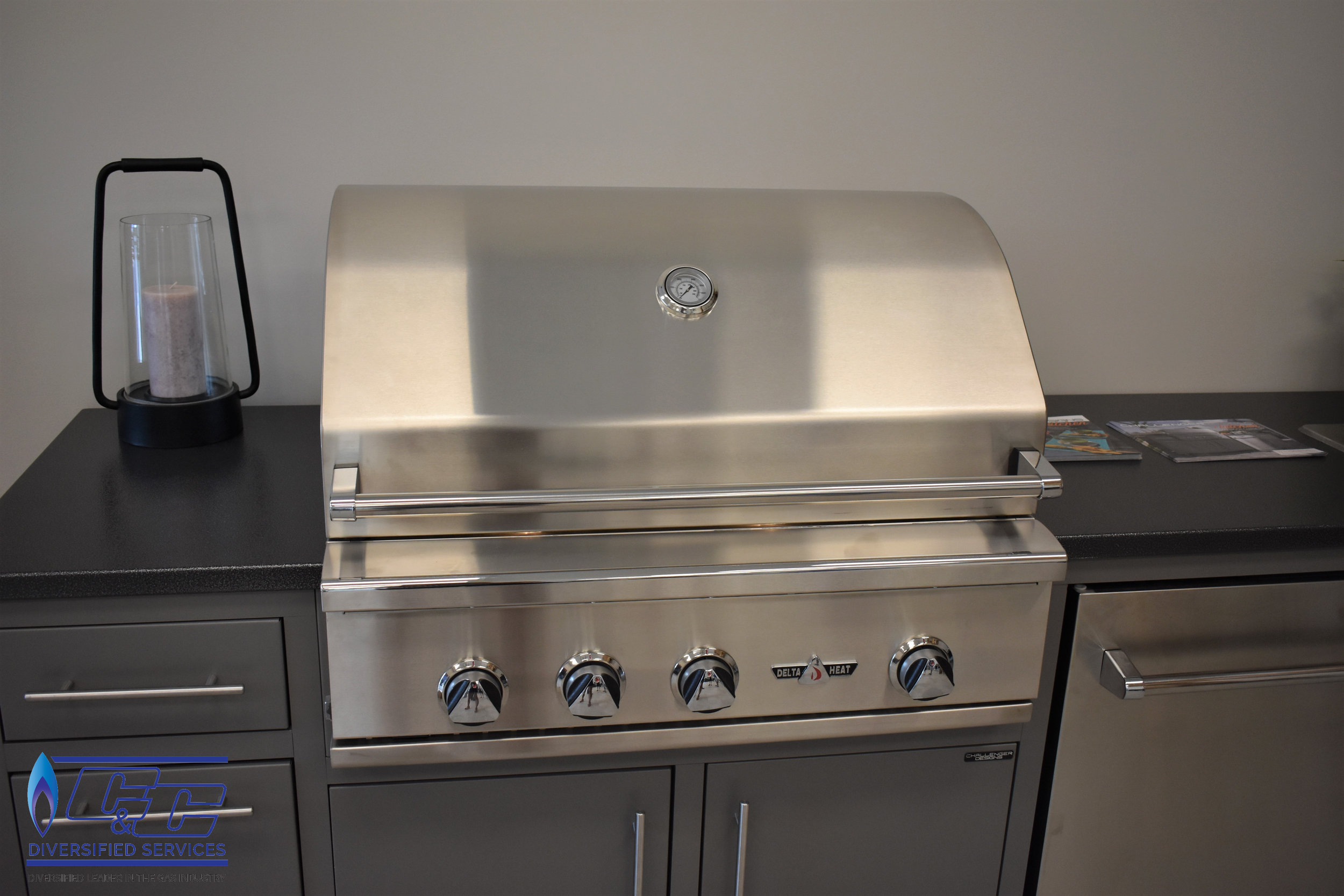"""Challenger Designs & Kitchen Custom Cabinetry Displayed with 32"""" Delta Heat Gas Grill"""