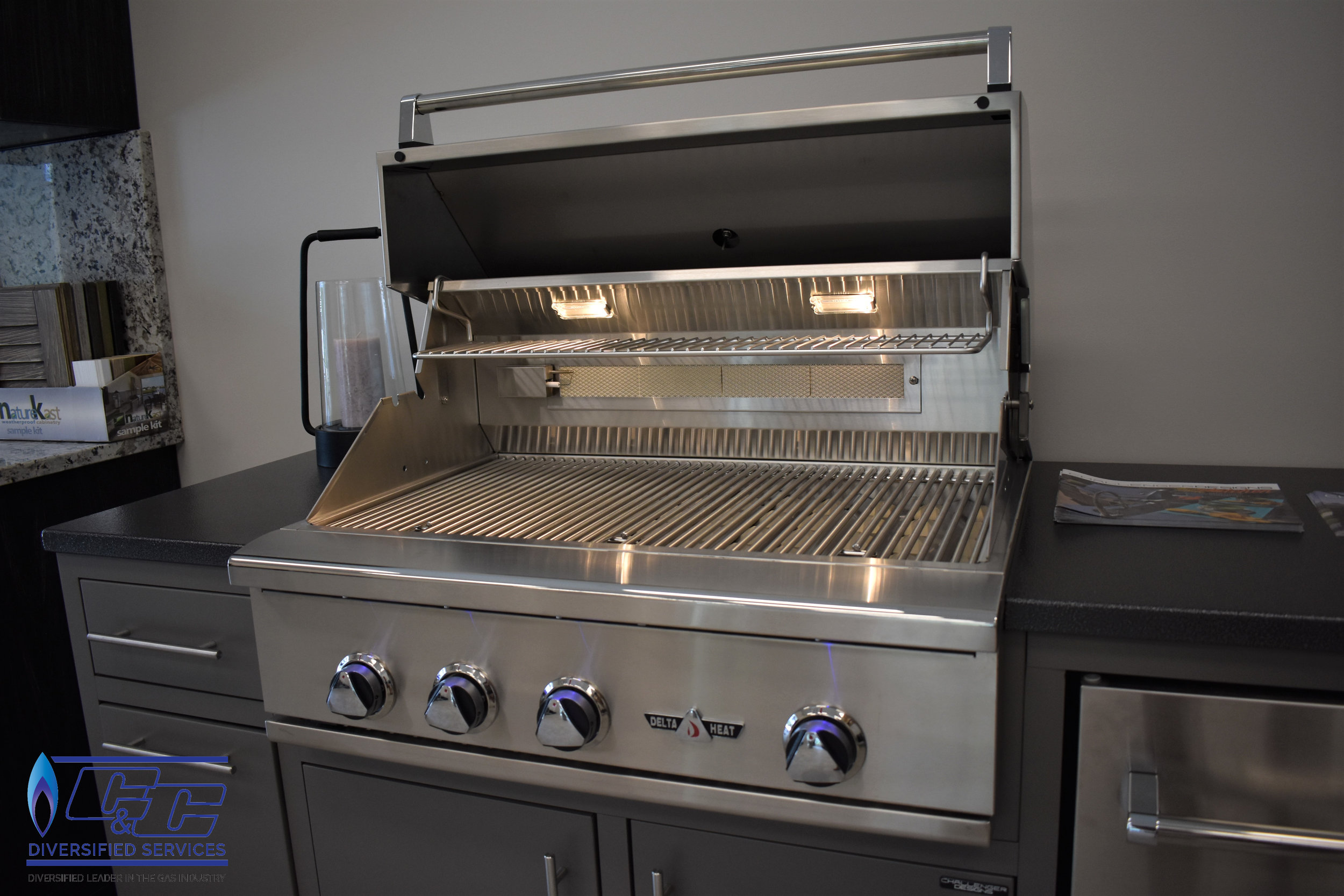 """Challenger Designs & Kitchen Custom Cabinetry Displayed with 32"""" Delta Heat Cas Grill"""