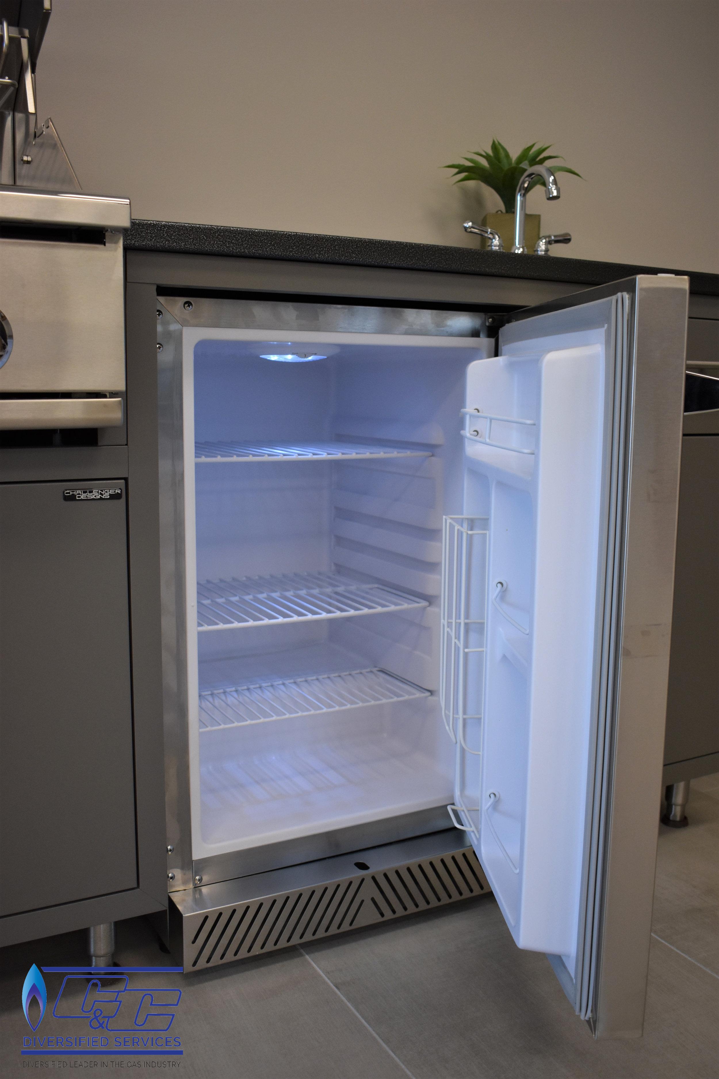 "Challenger Designs & Kitchen Custom Cabinetry Displayed with Delta Heat 20"" Outdoor Refrigerator"