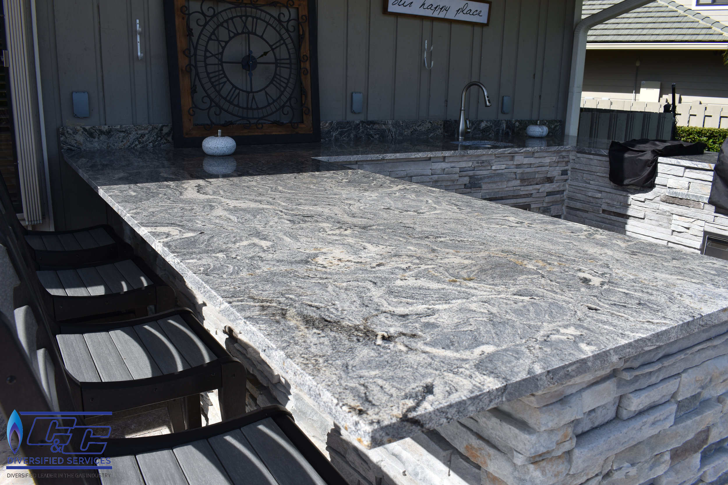 Granite Countertop with Countertop Height Seating Area