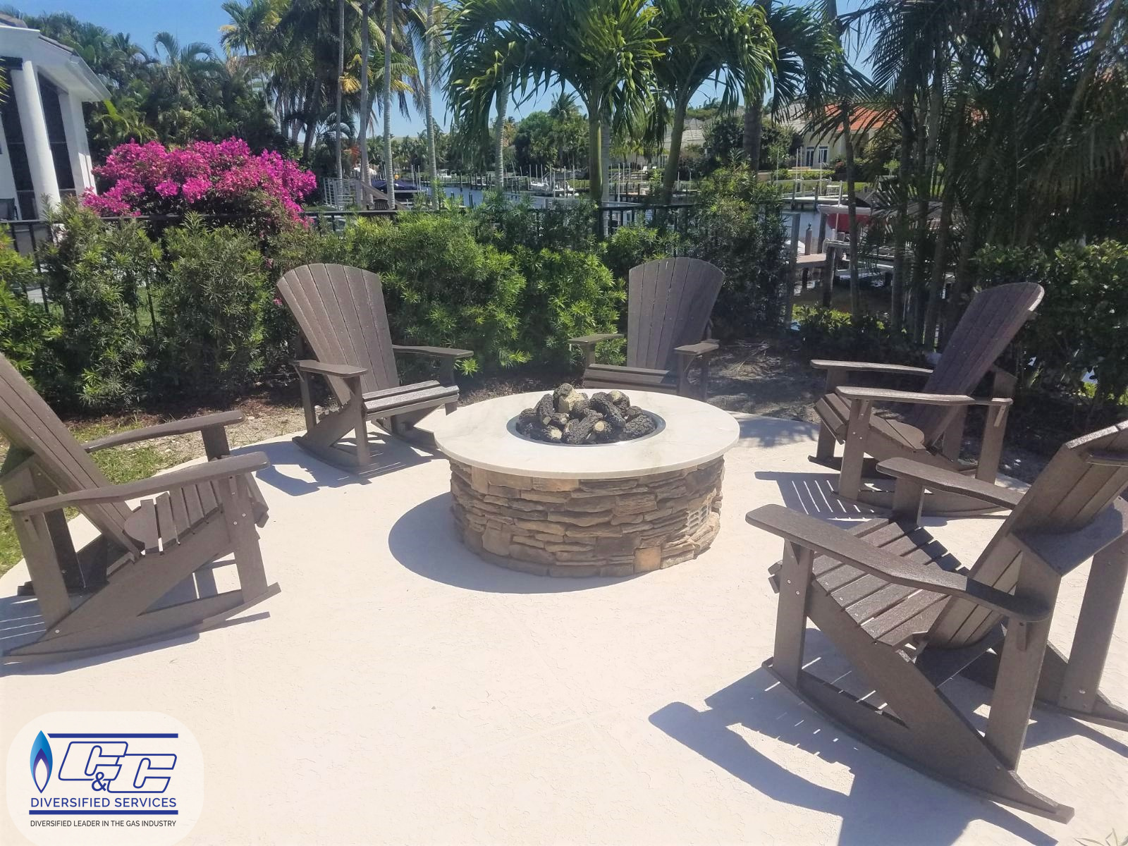 "Custom fabricated 44"" round fire pit with Echo Ridge style stone granite top"