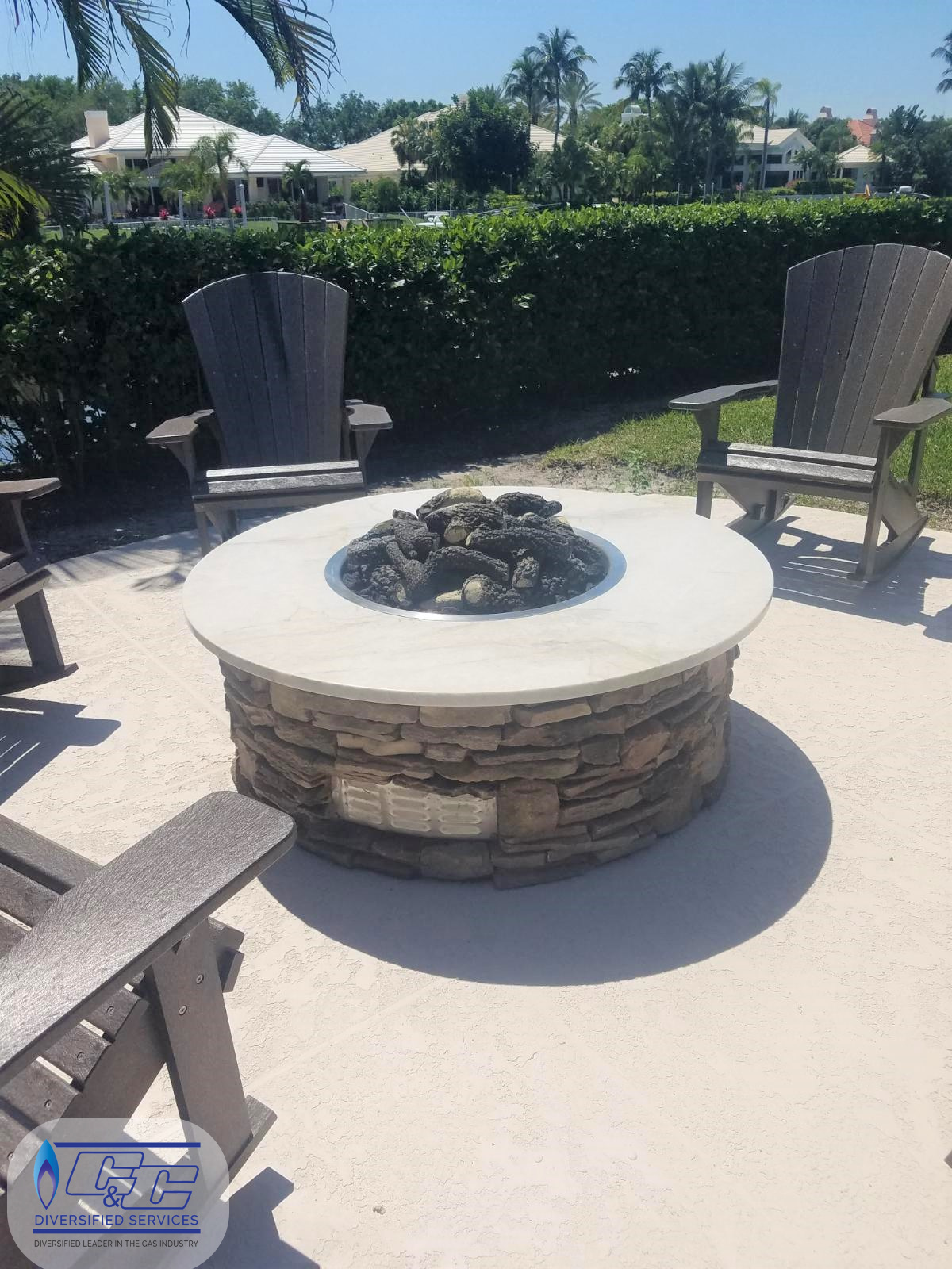 Custom round fire pit - vent louvers for proper cross ventilation