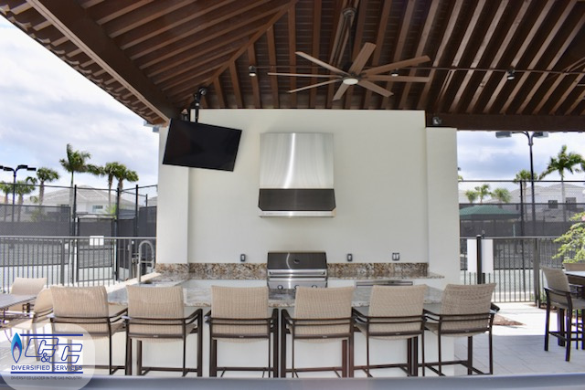 Clubhouse Custom Outdoor Kitchen Build, Welded Aluminum Frame, Stucco Finish