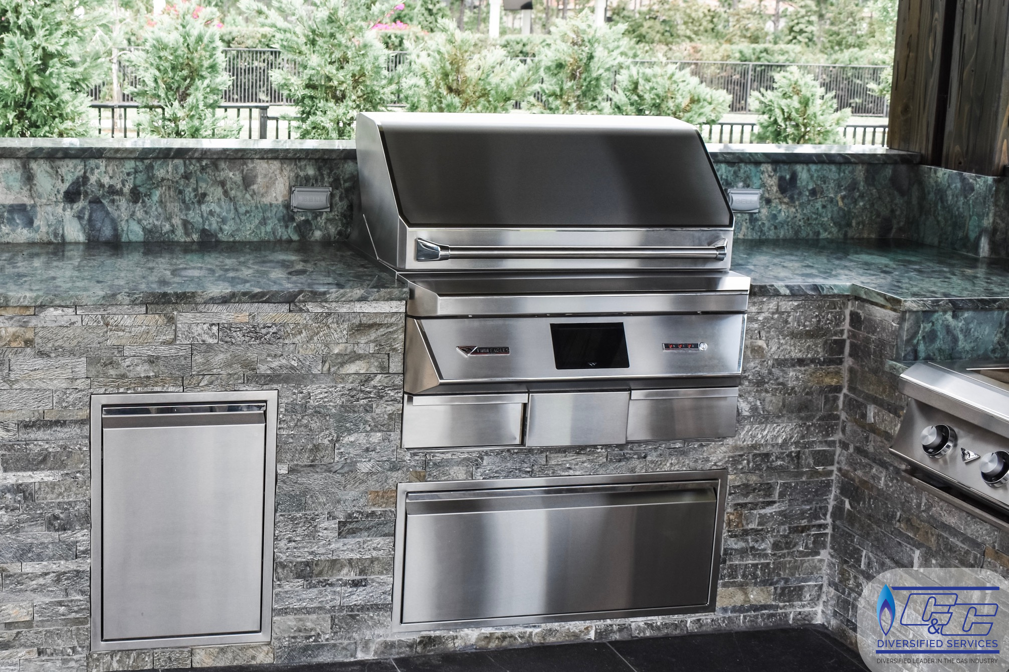 "36"" Twin Eagles Pellet Grill and Smoker, 36"" Pellet Storage Drawer"