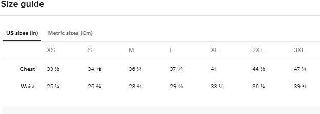 SIZE CHART - SWIM TOP/ SPORTS BRA SIZE CHART