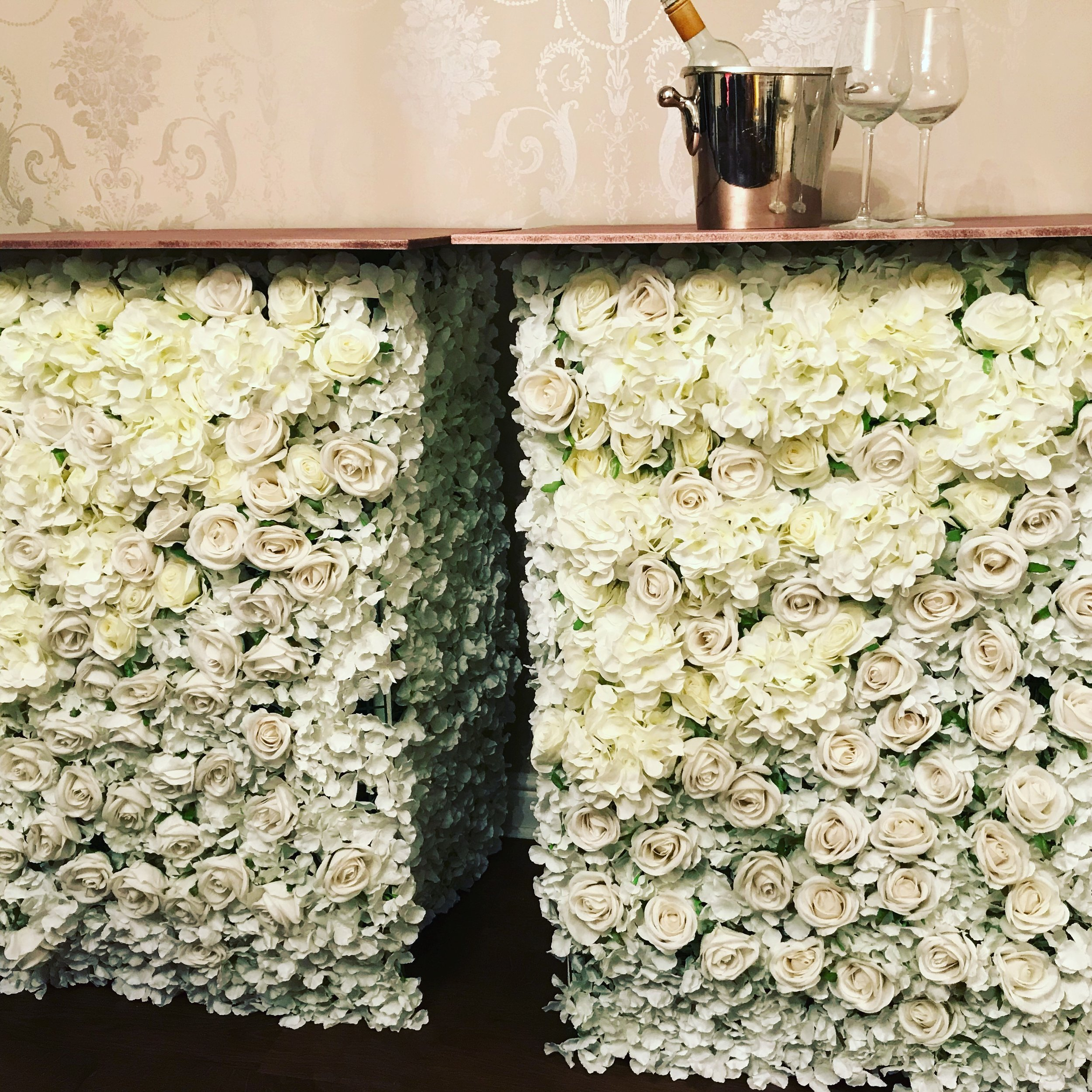 Our beautiful flower bars can be made to any size with either mirrored or coloured tops and bases. These are made in a very similar way to our flower walls and are all Handmade at Festival HQ - £50 for base unit, £75 when fully loaded.