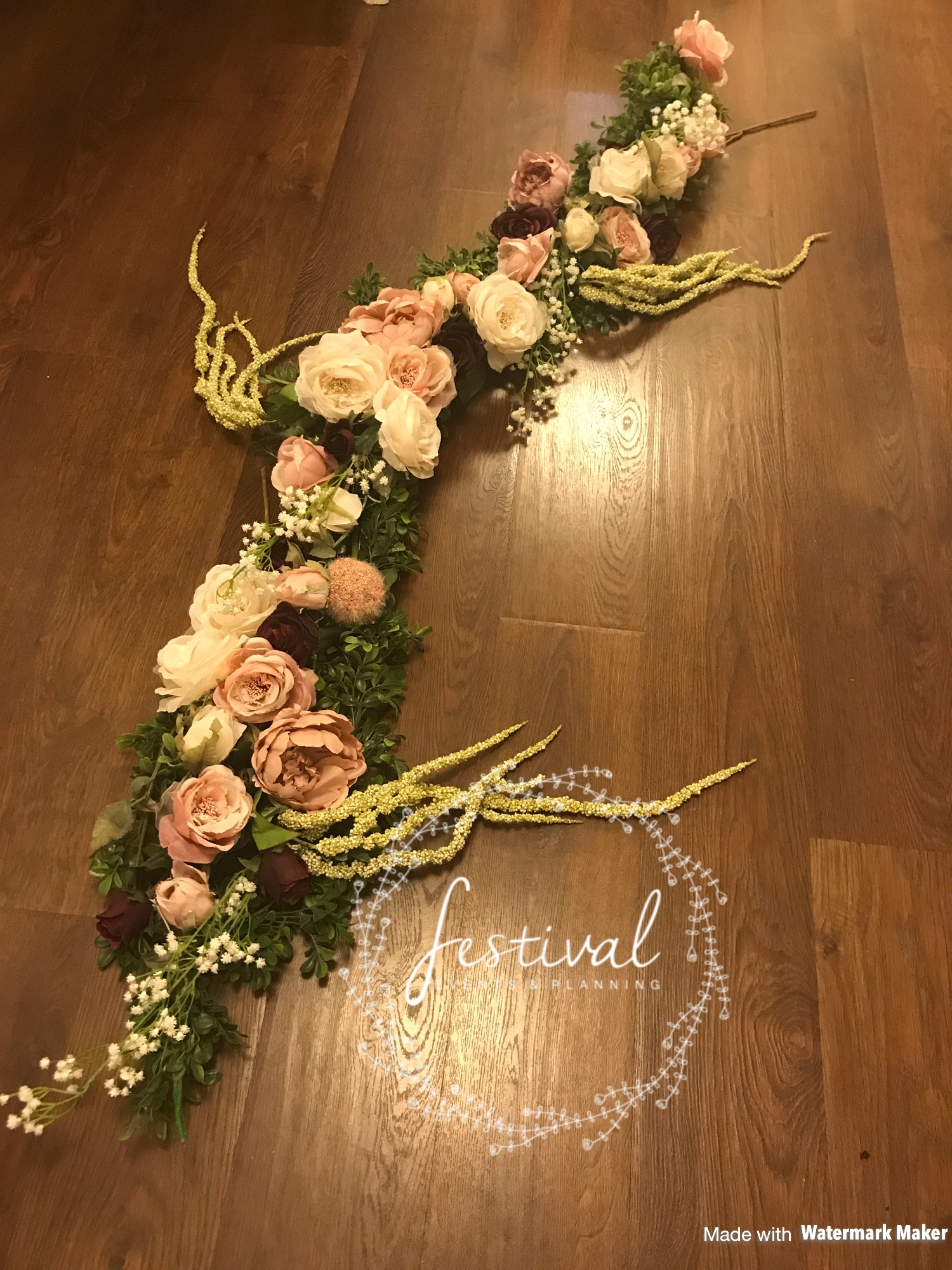 Nothing makes an entrance look more beautiful than floral swagging. Handmade by Festival HQ and matched to your colour scheme, table decor or to the colouring of your venue. Each piece is handmade, bespoke to your colour scheme and is a real statement piece for your event. Swagging starts from £50 for simplistic roses woven around the location of your choice. We think you will agree that these are absolutely gorgeous.