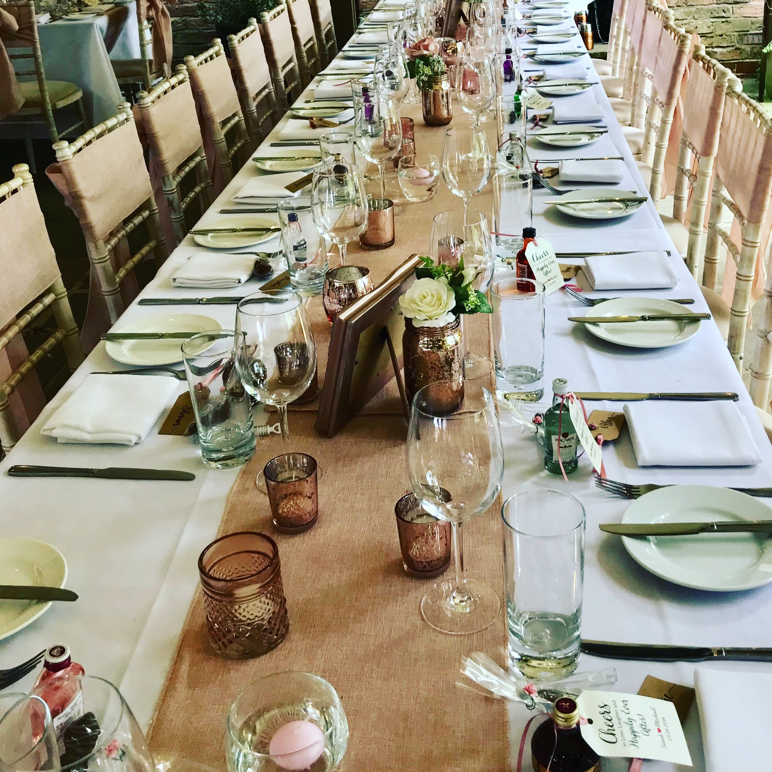 Sometimes it is better to have a long table of more guests than smaller of less, particularly when you have lots of friends coming.