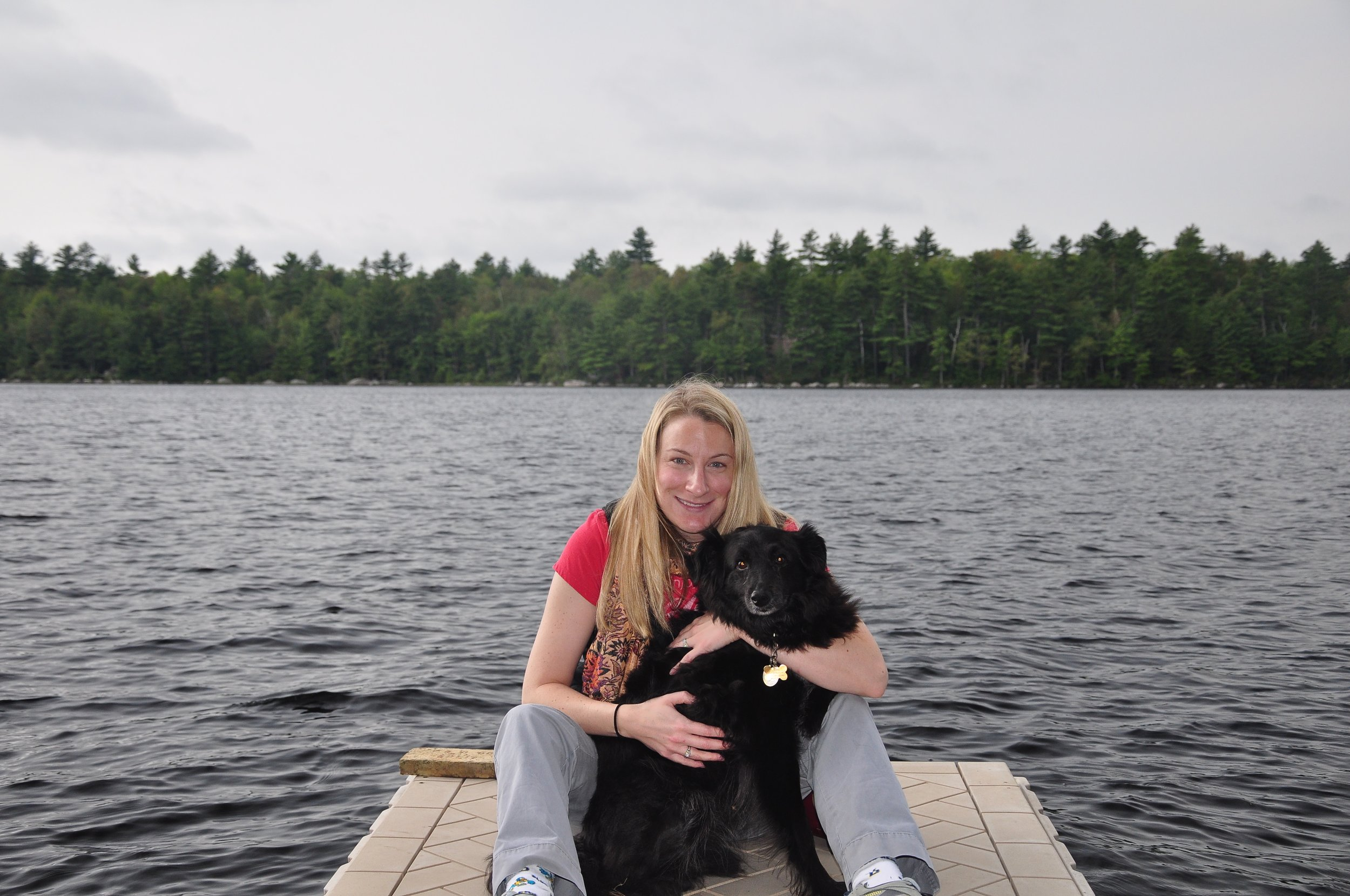 On a Maine dock with Wiley.