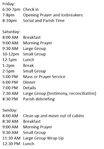 *Sample Schedule