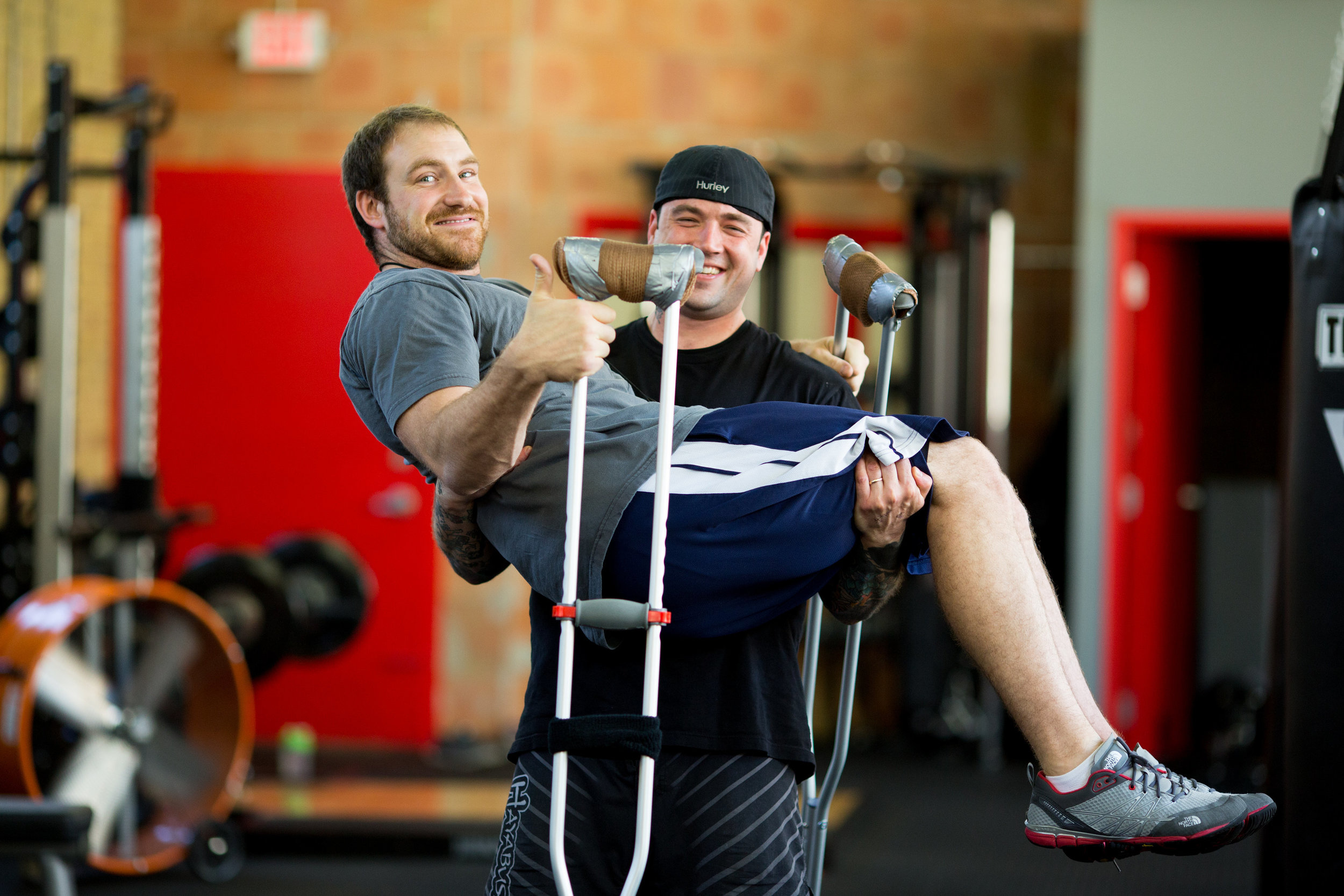Jason, during his rehab, with fellow trainer Aldon