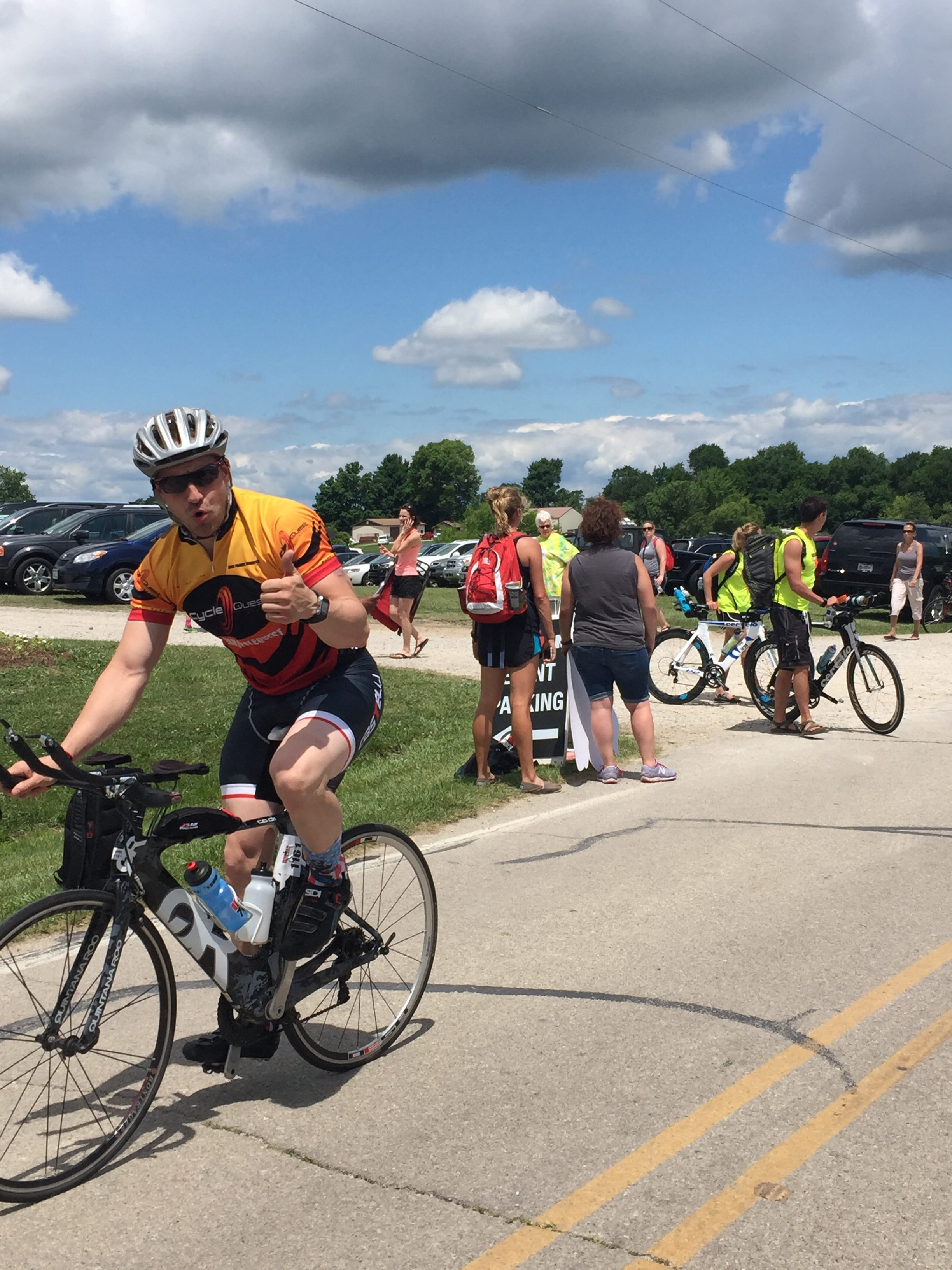 Jason competing in the cycling portion of his first Iron Man competition