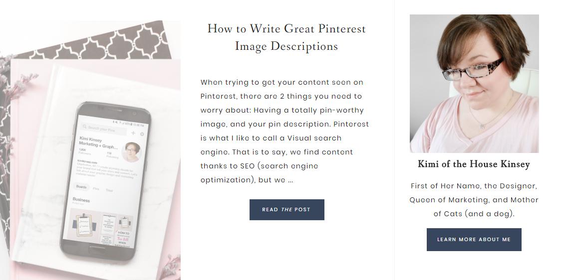 Kimi Kinsey Blog Sidebar Bio | JP Designs