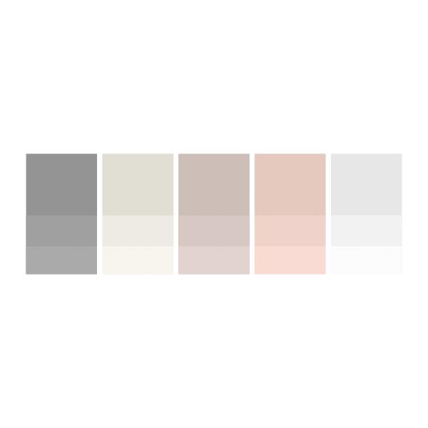Grey: #959595  |  Cream: #e2e0d4  |  Off Pink: #cebeb9  |  Pure Pink: #e7cac2  |  Soft Grey:#e8e8e8