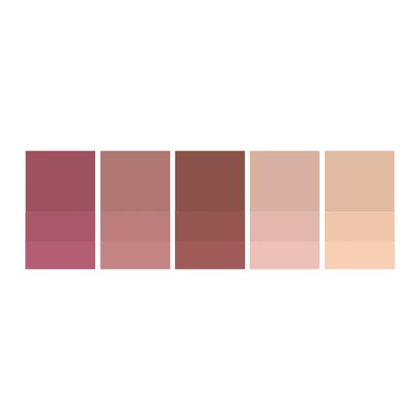Hot Pink: #a24f5e  |  Nude Pink: #b47775  |  Chocolate: #8d4f48  |  Rose: #dbb2a5  |  Nude: #e3bca6