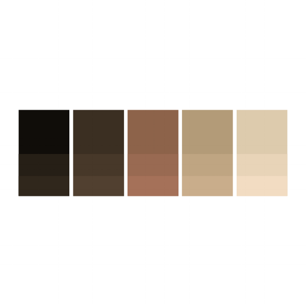 Black: #070502  |  Mocha: #382a1d  |  Caramel: #8f614b  |  Heavy Cream: #b69b7d  |  Whip: #decbb1