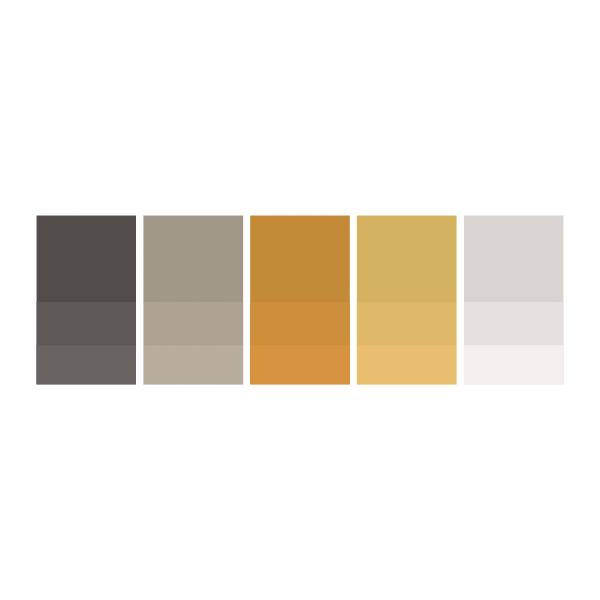 Mocha: #514c4a  |  Earl Grey: #a4998c  |  Orange: #c78a44  |  Honey: #d8b26e  |  Soft Grey: #dad5d2