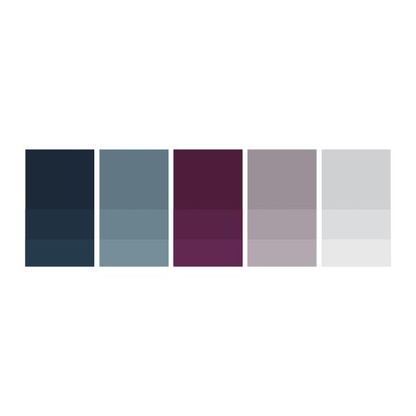 Storm: #112432  |  Jean: #5e7783  |  Royalty: #4d1635  |  Lavender: #9e9199  |  Soft Grey: #d0d1d3