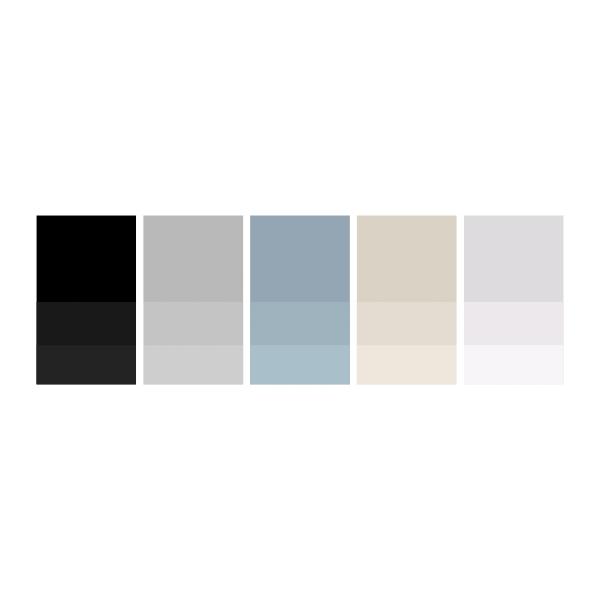 Pure Black: #000000  |  Ash: #bababa  |  Sky: #94a8b3  |  Cream: #dcd3c9  |  Soft Grey: #dedcde