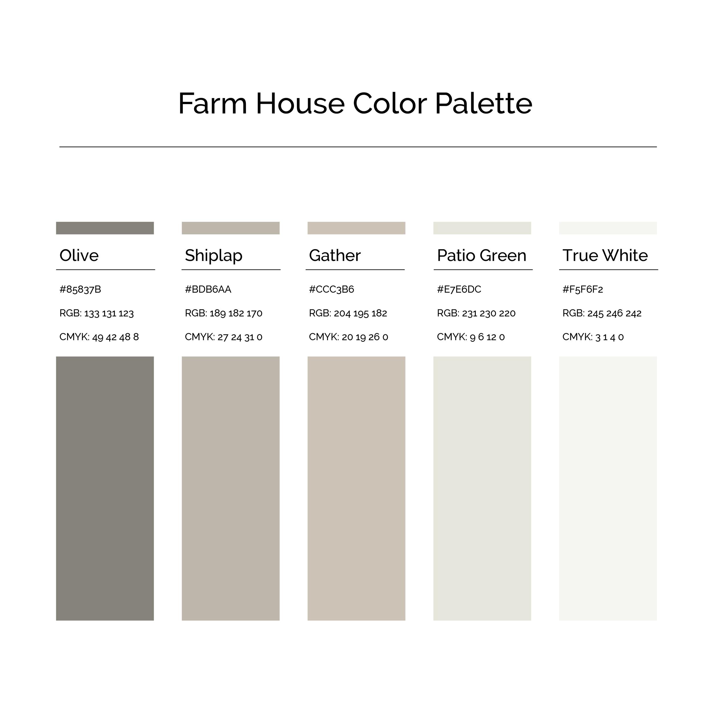 15 More Color Palettes | Farm House Color Palette