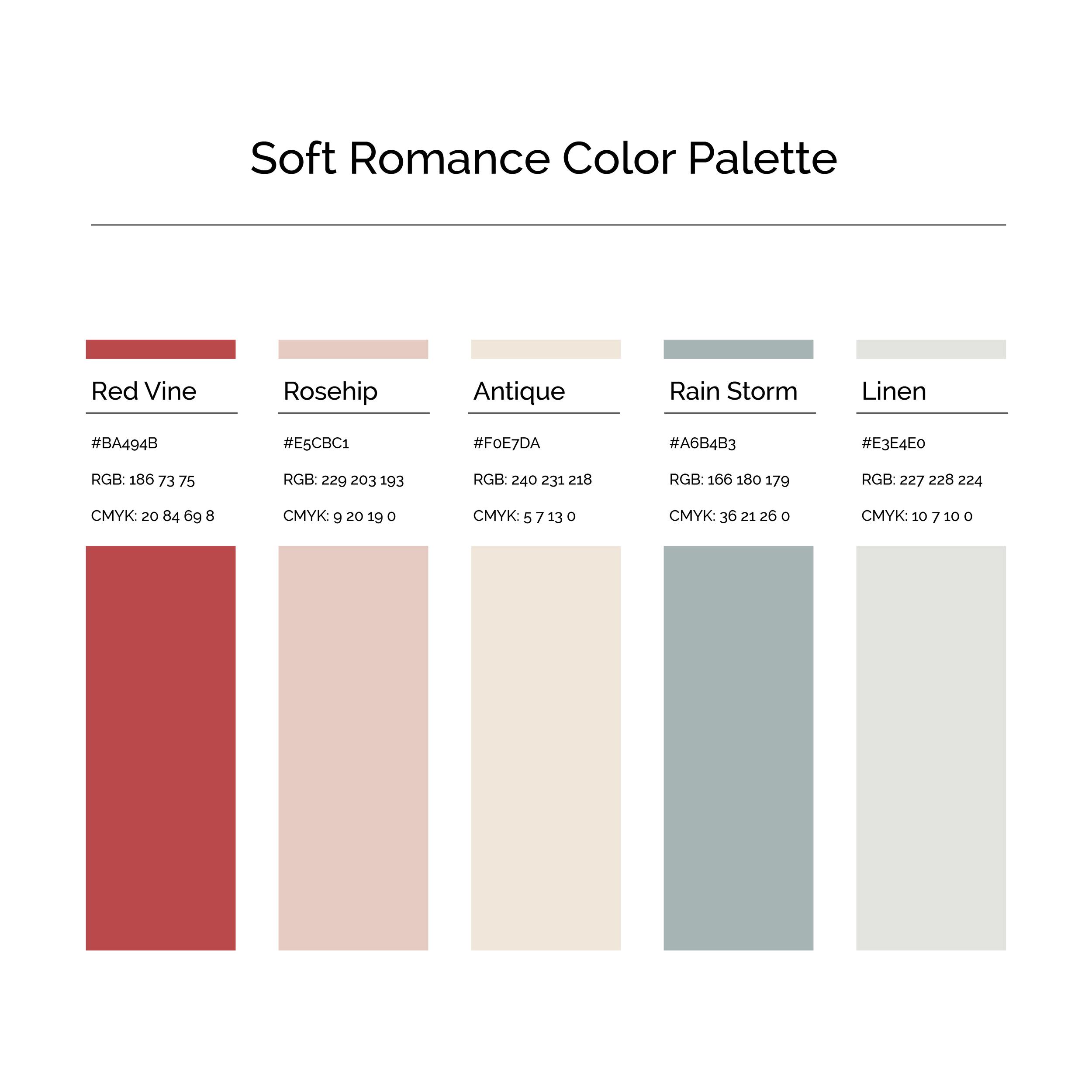 15 More Color Palettes | Soft Romance Color Palette