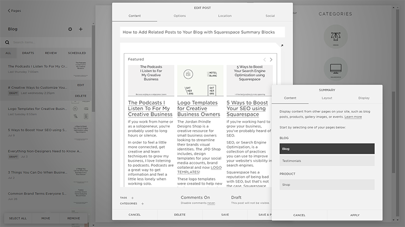 Creative Ways to Customize Your Squarespace Website | Summary Blocks Content Settings