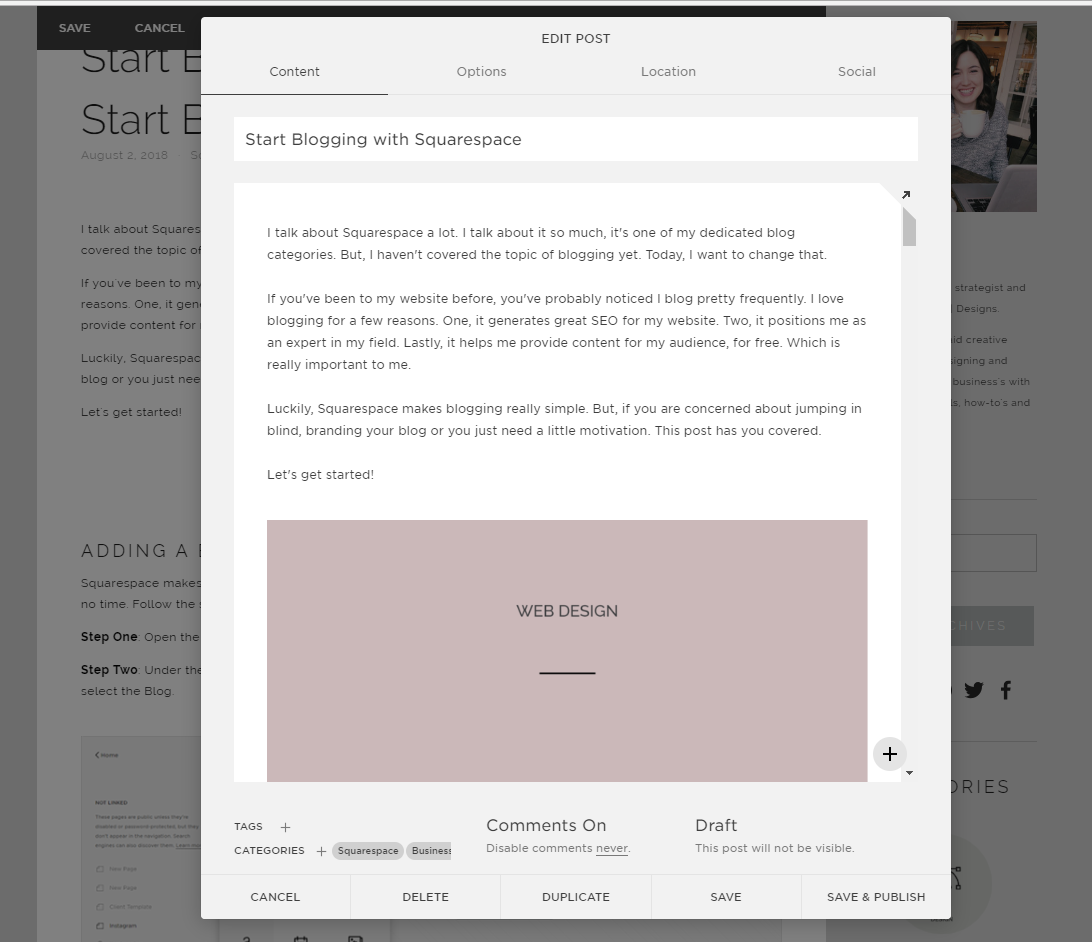Start Blogging with Squarespace | Blog Content Settings in Squarespace with Jordan Prindle Designs