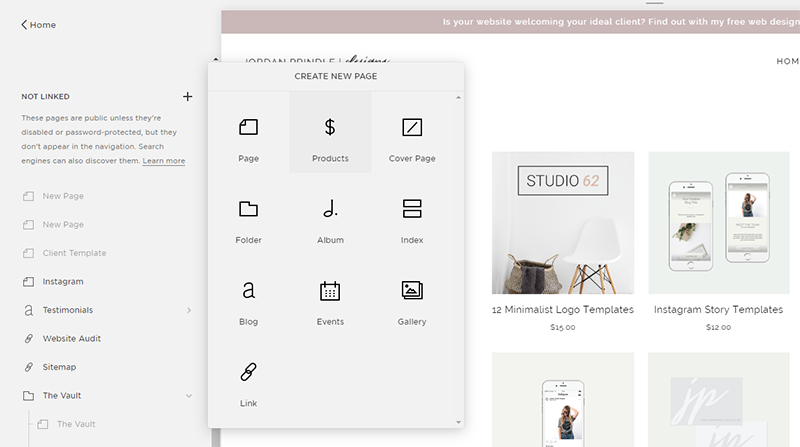 Open a Shop in Squarespace | Adding a shop page with Jordan Prindle Designs