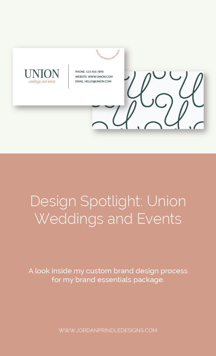 Brand Design for Union Weddings and Events | A recent design spotlight at my brand essentials package for a #wedding and #events business. View at www.jordanprindledesigns.com #logo #logodesigner #branding #branddesign
