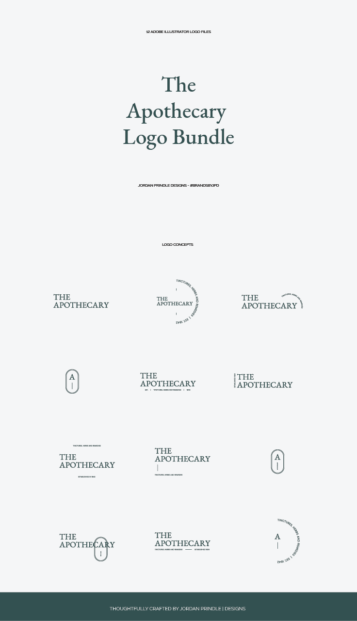 The Apothecary Logo Bundle | I just release a new logo bundle designed with #ethicalbrands in mind. Check it out and see how easy they are to edit at www.jordanprindledesigns.com #branddesign #logobundle #logodesigner