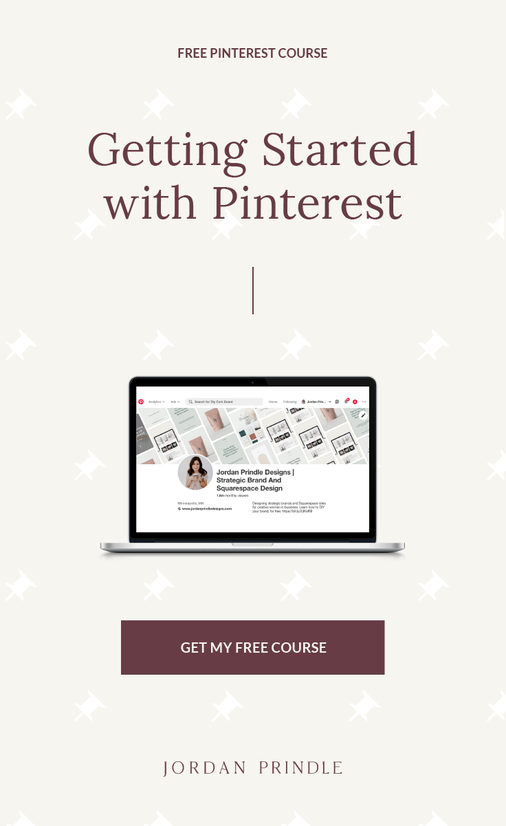 FREE Pinterest Course | Learn tips to set up your pinterest account to grow your blog or business with ease at www.jordanprindledesigns.com #pinterestcourse #pinterestforbusiness #pinteresttips #pinterestforbloggers