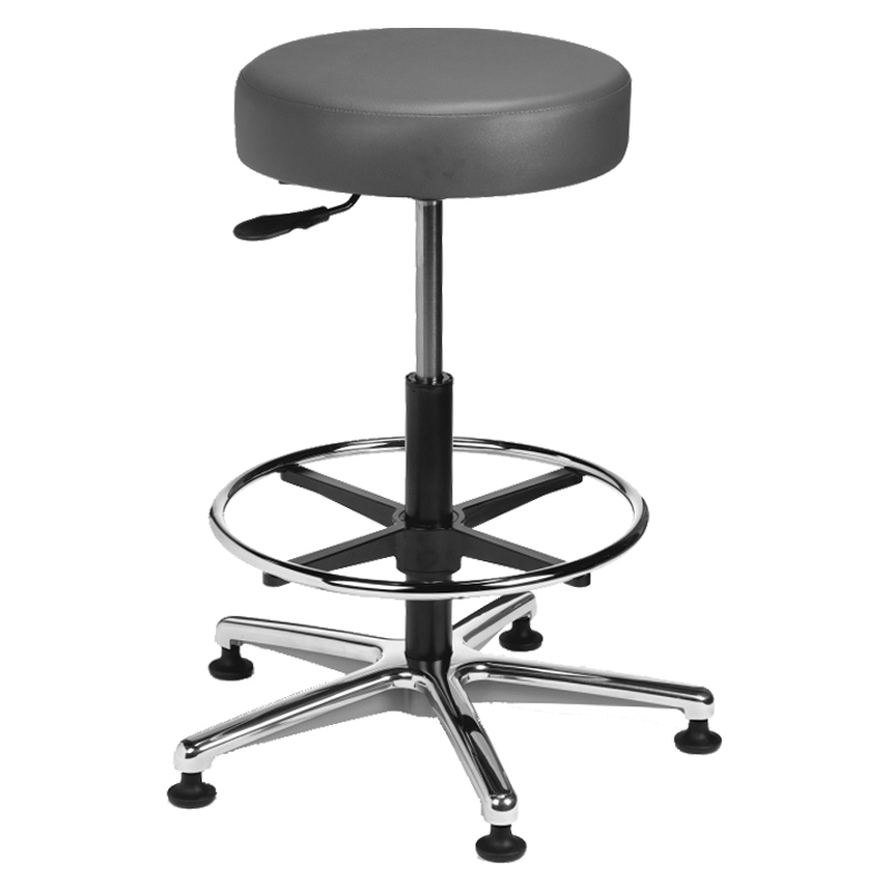 Vinyl Round Series Stool with Foot Base and a Metal Ring Model: VRM-3