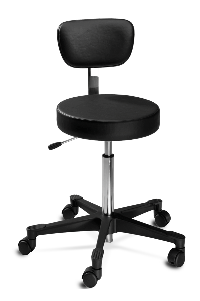 """15"""" round seat with adjustable, tilted, and upholstered backrest. Horizontal and vertical movement tailor the stool to an ergonomic fit"""