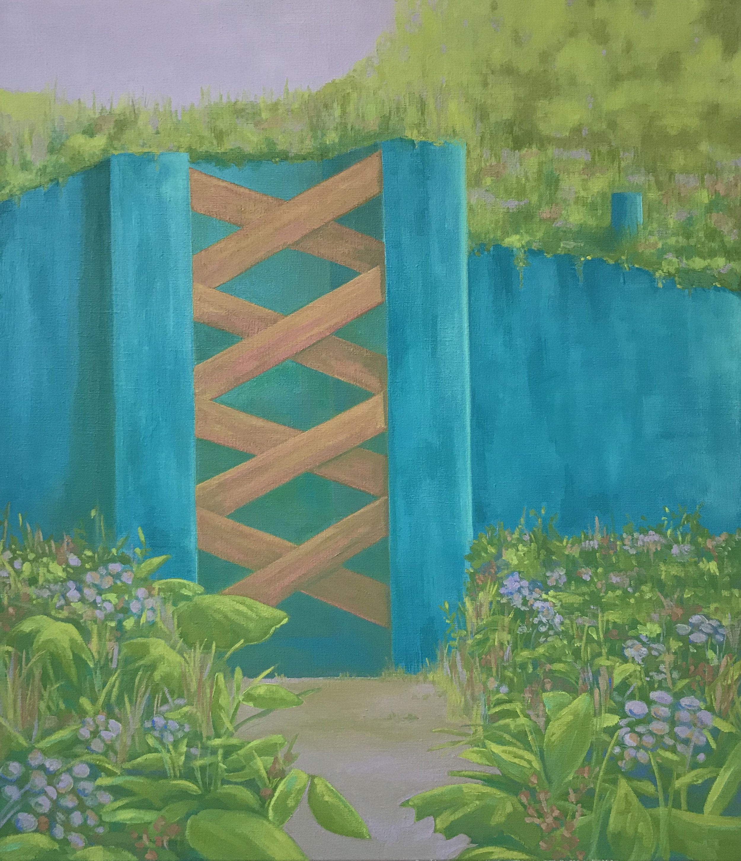 Blue Border Wall, Oil on Canvas 30 inches x 26 inches 2018