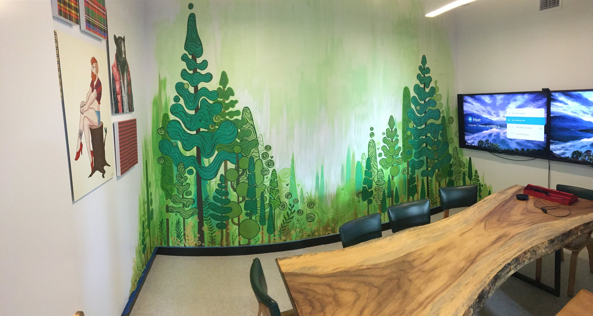 Work in Progress Panorama of Entire Lumberjack Room at Redbubble in San Francisco, CA. 2017.