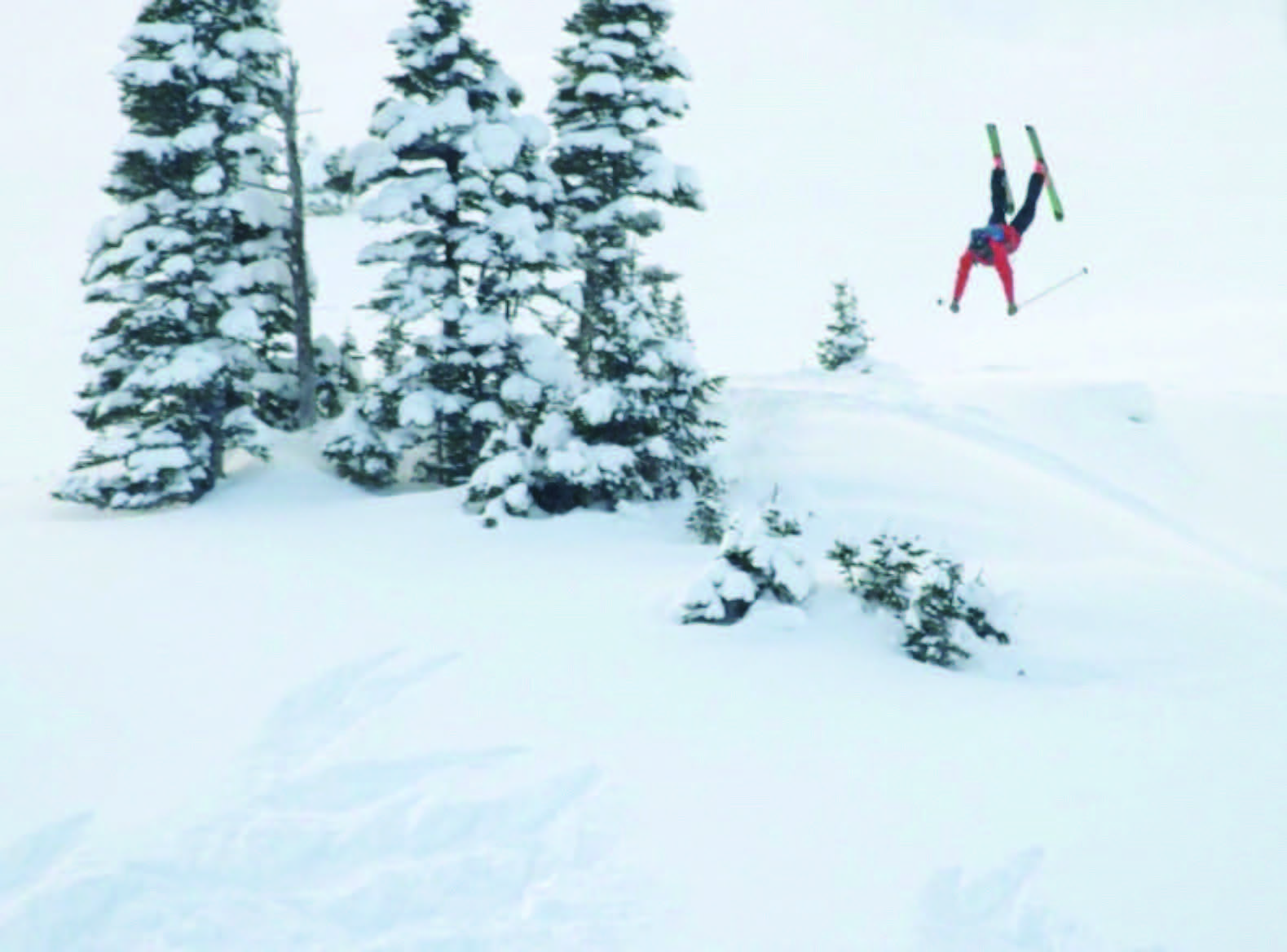 Goertzen, a former freeride competitor, tosses a front flip for the camera.