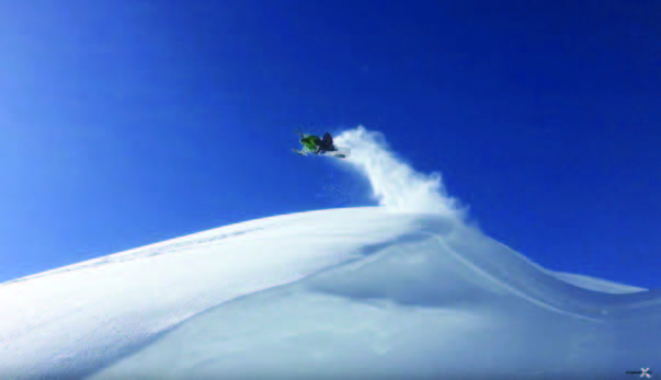 """Thunderstruck rider Cody Hunt Jumps a wind lip outside Alpine, WY in episode 3, """"Riding Revy with Team Thunderstruck."""