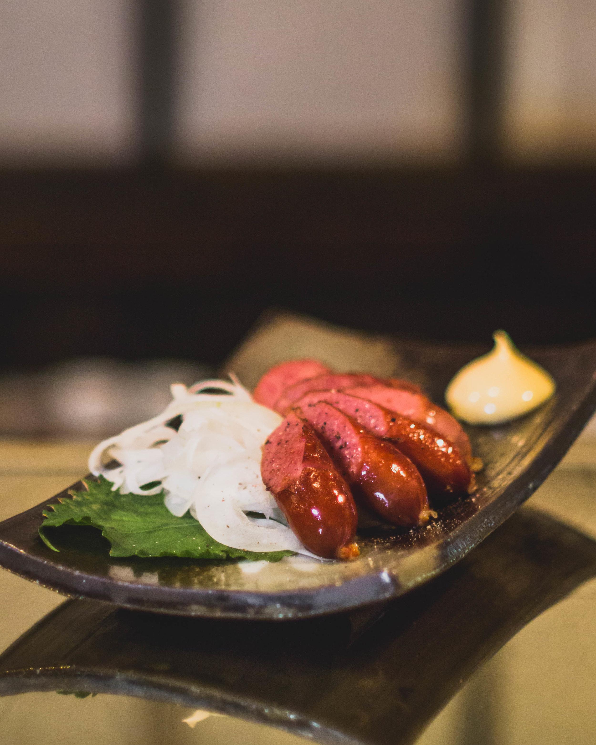 BERKSHIRE PORK SAUSAGE - Pan-fried sausages w/ Yuzu pepper mayo