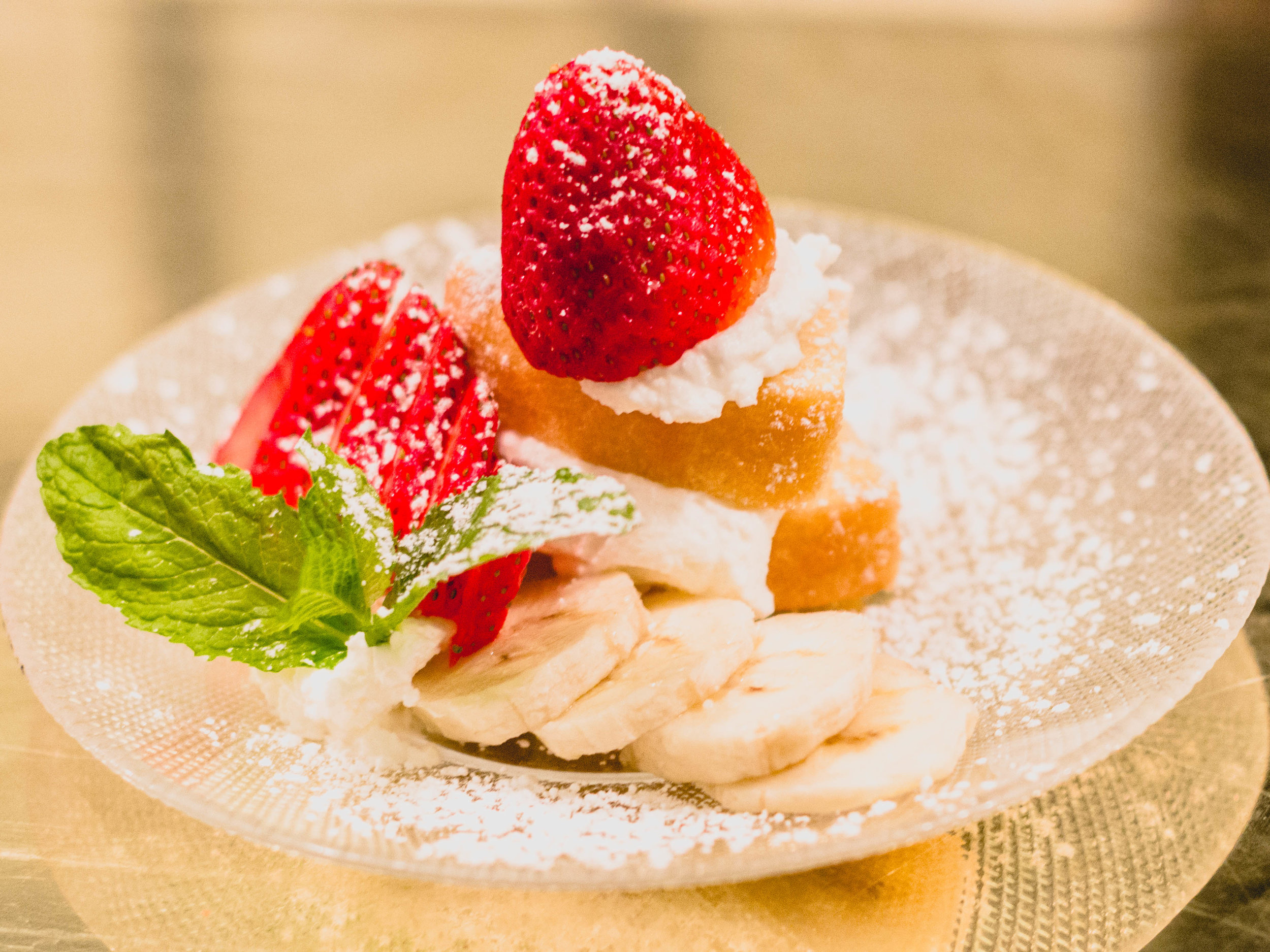 Baumkuchen - Tree Layer Cake with Whipped Cream, Banana, & Strawberry